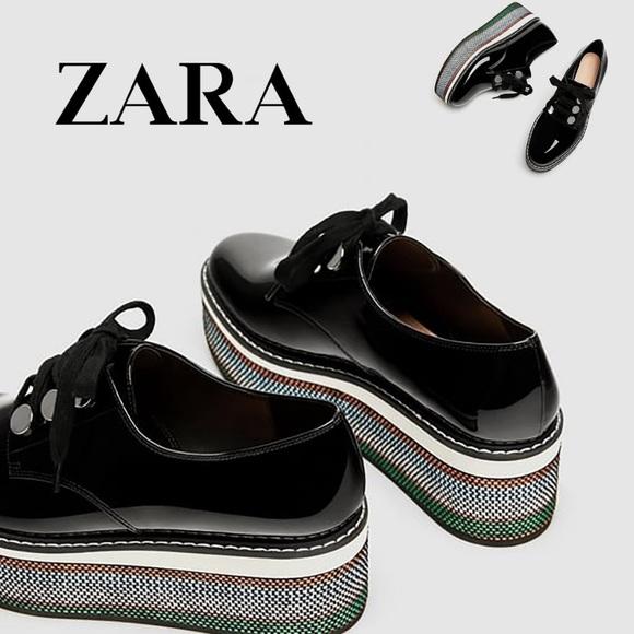 Zara Faux Patent Leather Platform Derby Shoes NWT